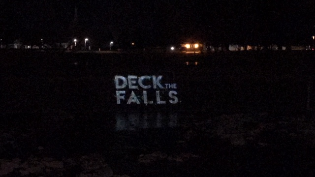 Deck the Falls video and image show by ANDX to be projected on the falls in Idaho Falls over the holidays.