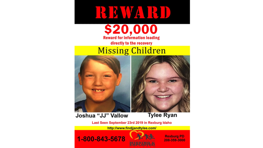 Reward find Joshua JJ Vallow and Tylee Ryan