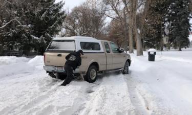 Vehicle stuck in snow