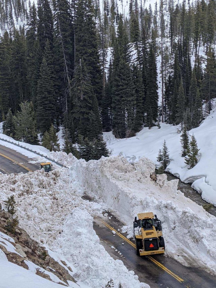 Highway 21 cleanup17_Crews make good headway clearing a path through this avalanche slide.