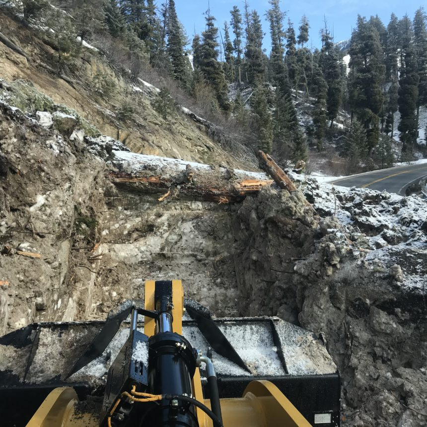Highway 21 cleanup19_Rock and dirt from landslides nad to be loaded into dump trucks and hauled off. This slide had an estimated 400 cubic yards carried away.