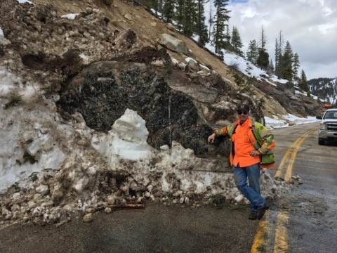 Highway 21 cleanup22_Another massive boulder blocked an entire lane. This is too large to be lauled off as-is.