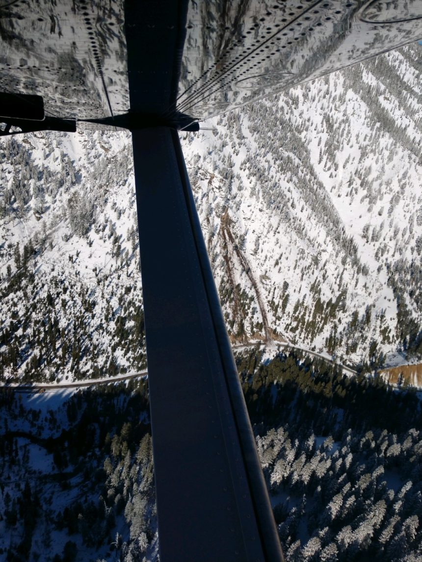 Highway 21 cleanup4_An aerial survey shortly after the March 31 earthquake showed where slides hit ID-21.