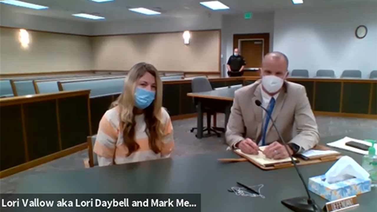 Lori Vallow-Daybell and Mark Means at a court hearing on July 17, 2020 through a Zoom meeting.