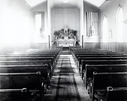 The empty interior of St. Alphonsus Catholic Church in Wallace on Easter Sunday, April 20, 1919