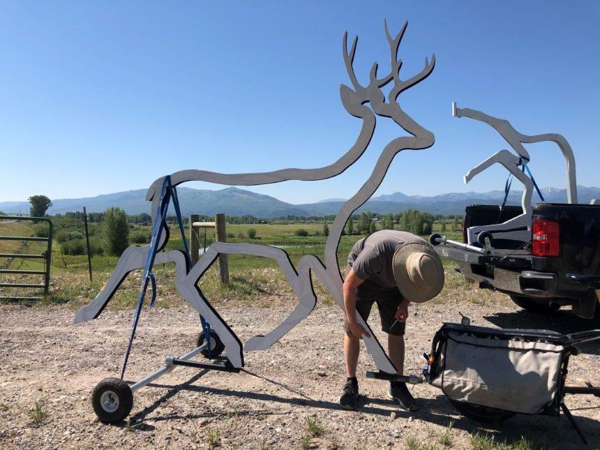 installing deer silhouette