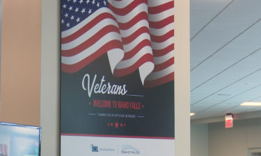 New sign welcoming veterans to the Idaho Falls Regional Airport- united states flag. veterans welcome to idaho falls, thank you for your service