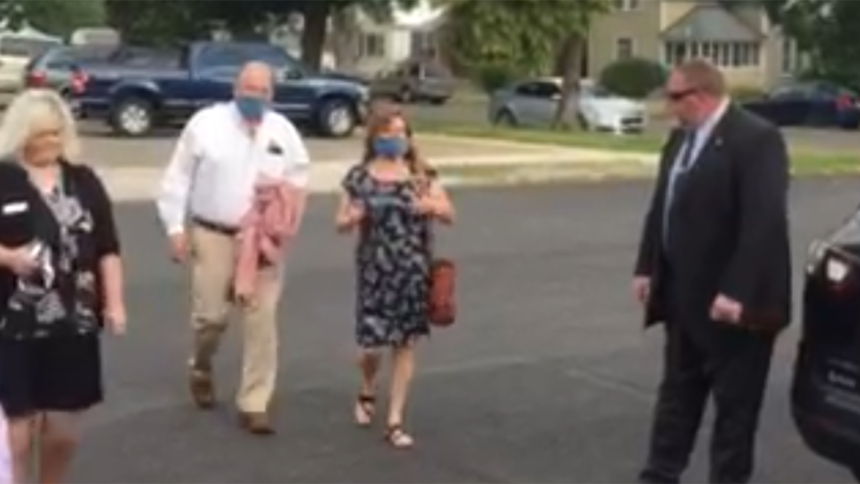 Kay and Larry Woodcock arriving at court on August 3 2020