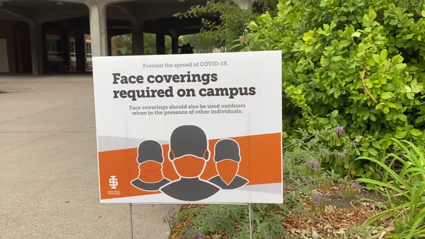 ISU face coverings COVID sign
