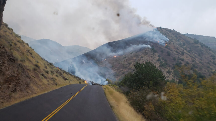 Inkom Tactical Water Tender approaches active fire on both sides of Rock Creek Road - Badger Fire, Cassia County, Idaho