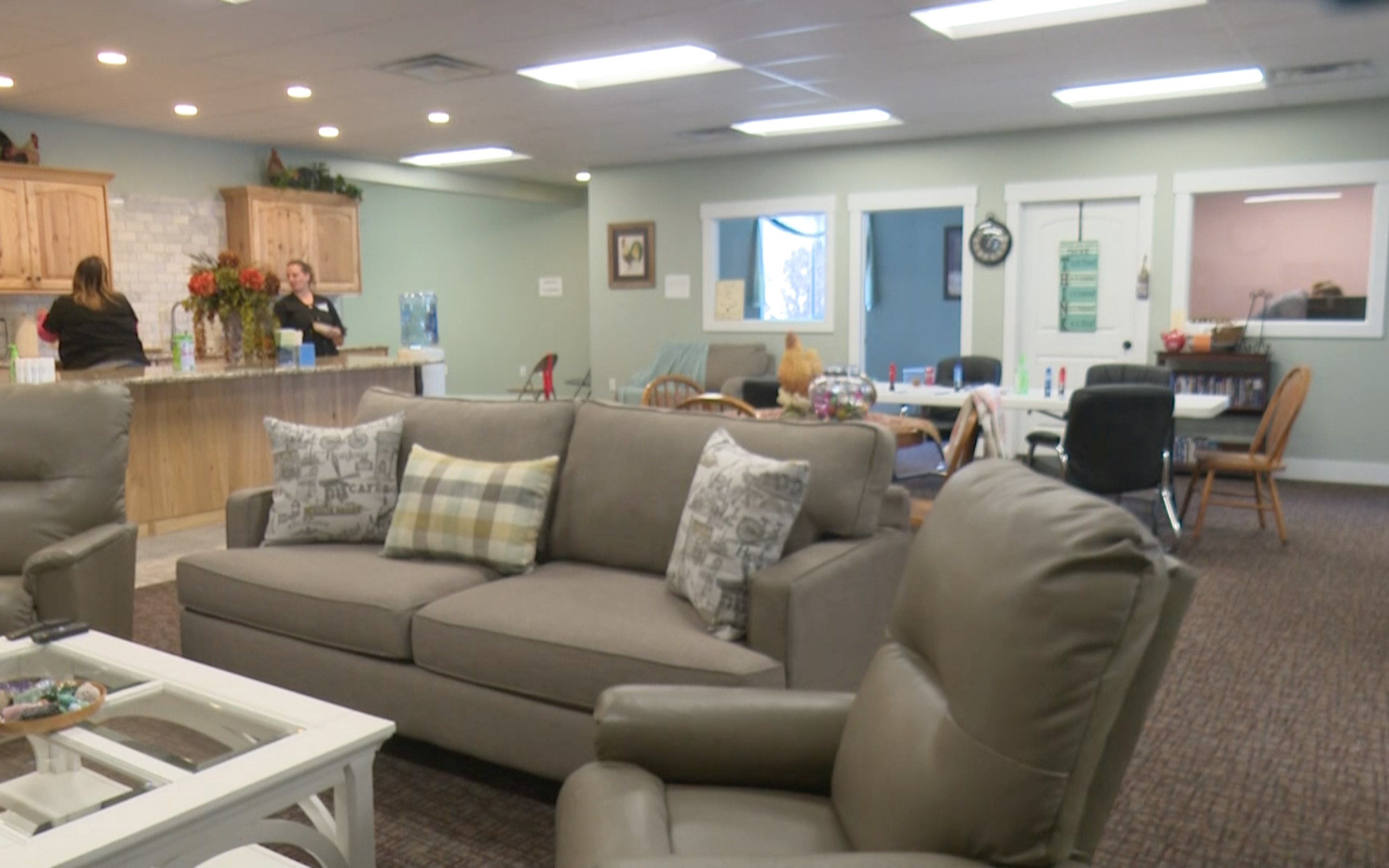 Living and dining area inside Calming Rivers Adult Day Care