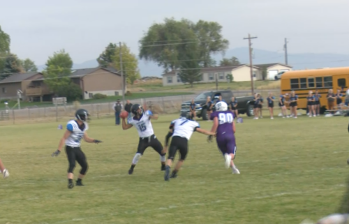 Brady Power throws it downfield for a Dietrich touchdown as the Blue Devils win 34-24.