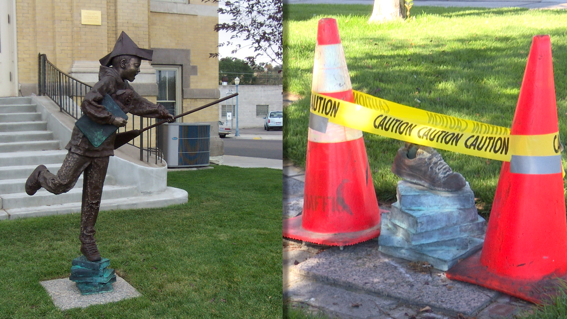 before and after statue outside of marshall public library
