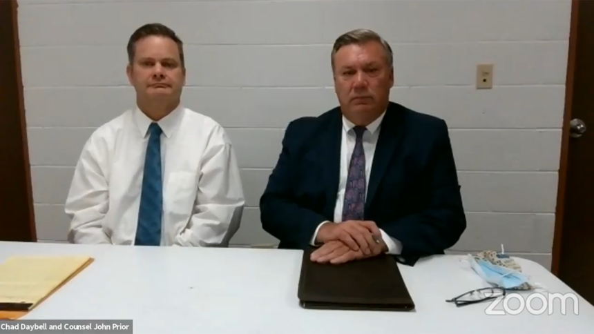 Chad Daybell and attorney John Prior at court hearing October 29