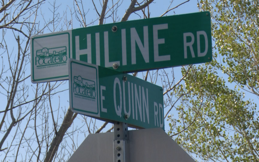 Street sign of Hiline Road and East Quinn Road where shooting on Oct.3 took place