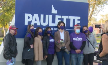 Paulette Jordan takes picture with supporters at campaign event