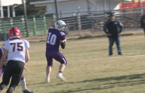 #10 Quarterback Bridger Hatch drops back to pass in North Gem's 55-0 win over Council
