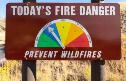 Fire danger sign at moderate.