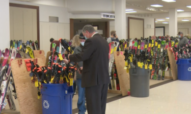Visitors looking at merchandise during Saturday's Pocatello Ski Swap