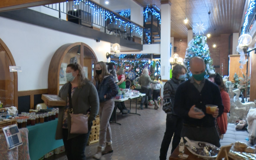 Shoppers walking through Station Square in Historic Downtown Pocatello