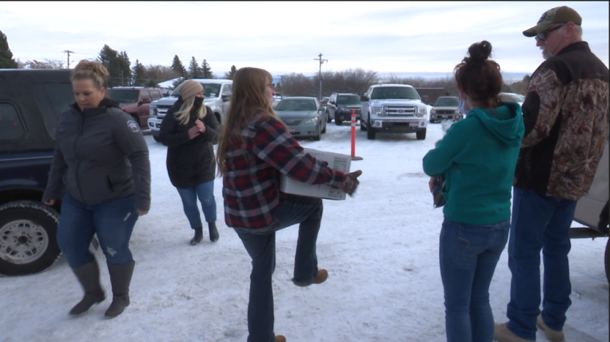 Elks Lodge distributes food boxes