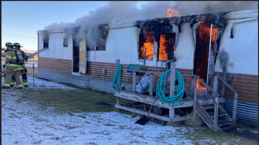 Mobil home fire near Yellowstone to 25th Street