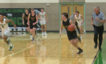 #3 Kade DaBell dribbles in transition in Rigby's 56-49 win over Blackfoot