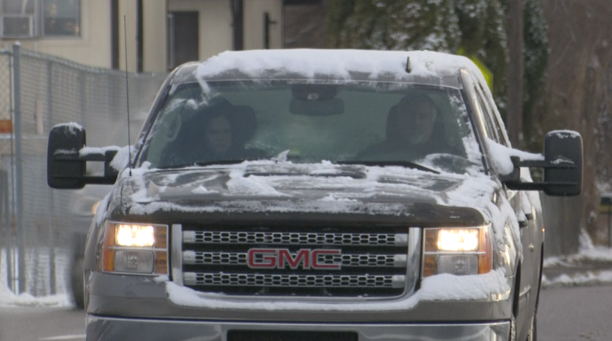 snowy car