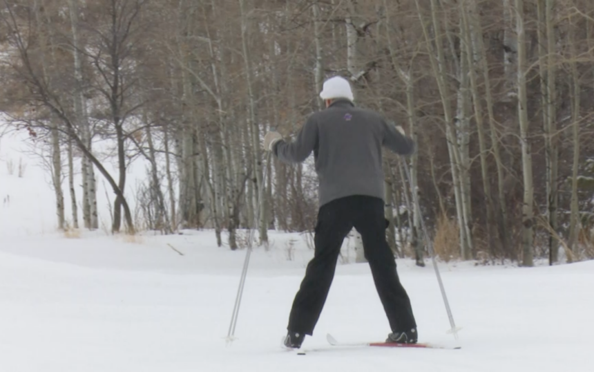 Local skier skiing at Mink Creek Nordic Center on Saturday
