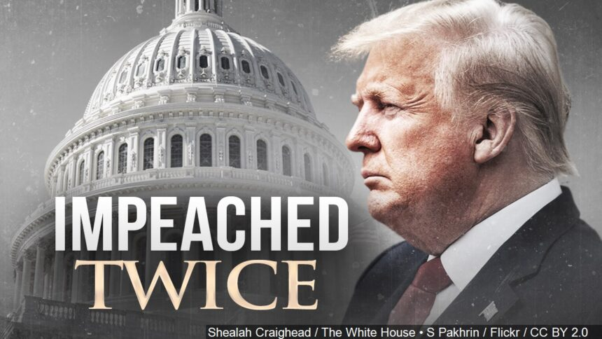Donald Trump becomes first President to be impeached twice logo Shealah Craighead : The White House : CC BY 2.0 S Pakhrin : Flickr : CC BY 2.0