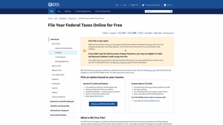 IRS Free File service launches, available to taxpayer with 2020 income $72,000 and below