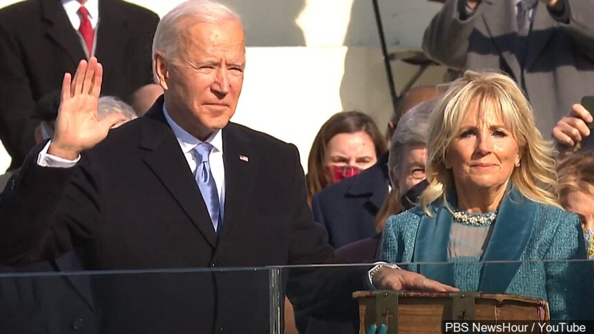 Joe Biden Sworn in as President of the United States during his Inauguration Ceremony logo PBS NewsHour : YouTube