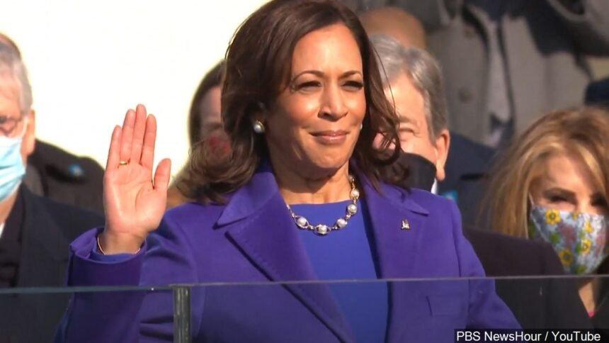 Kamala Harris is sworn in as Vice President of the United States during Joe Biden's Inauguration logo PBS NewsHour : YouTube