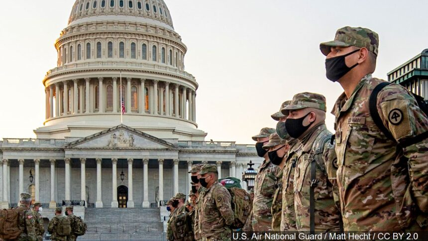 National Guard Soldiers and Airmen from several states have traveled to Washington to provide support to federal and district authorities leading up to the 59th Biden Presidential Inauguration logo