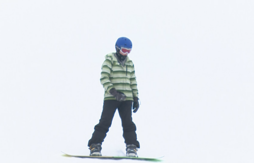 Snowboarder at Pebble Creek Ski Area in Inkom, ID