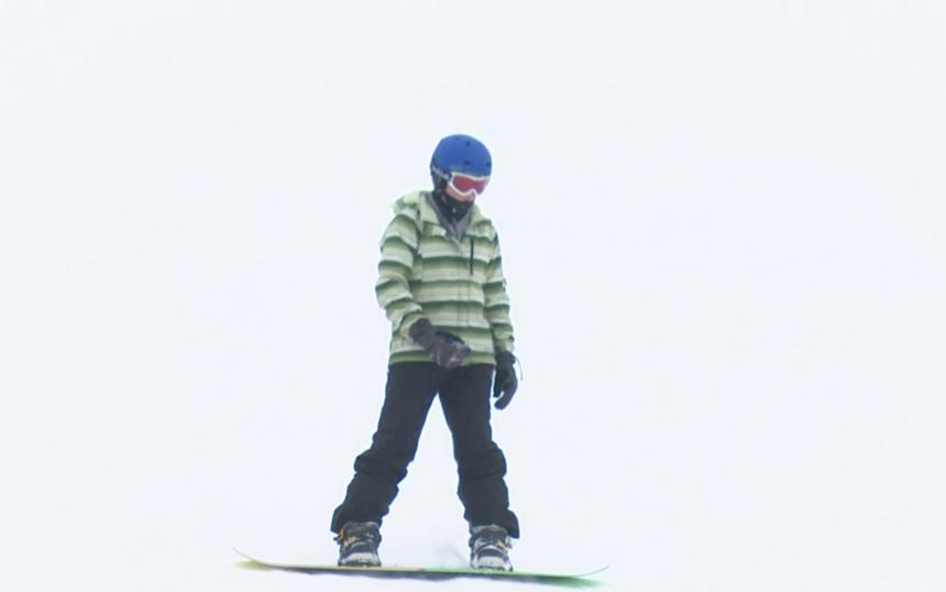 Snowboarder at Pebble Creek Ski Area in Inkom, ID