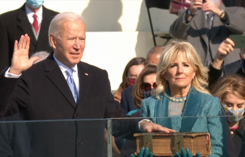 President Joe Biden taking oath of office on Jan. 20