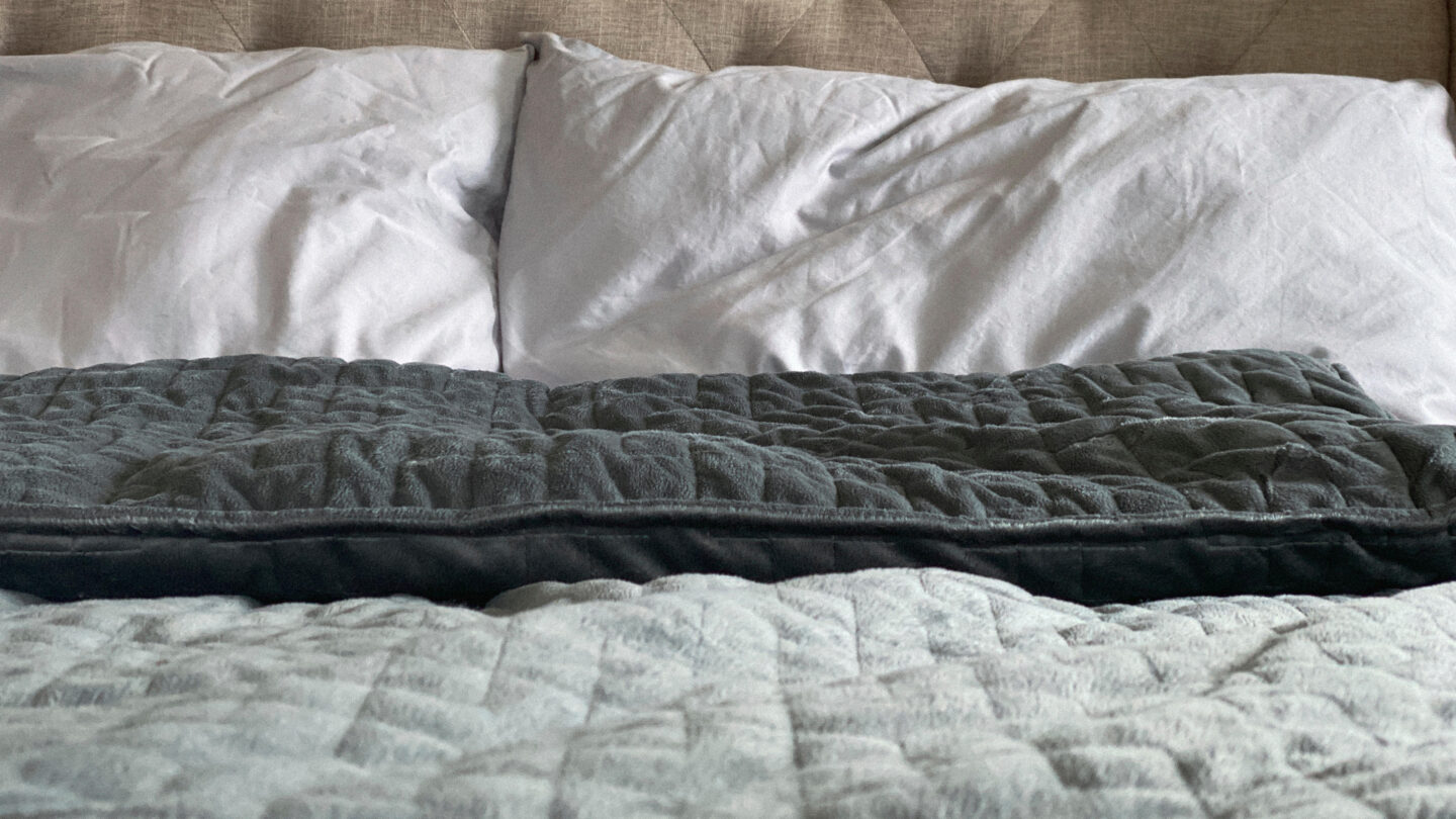2A5M87D Still life of gray, weighted, blanket in bedroom