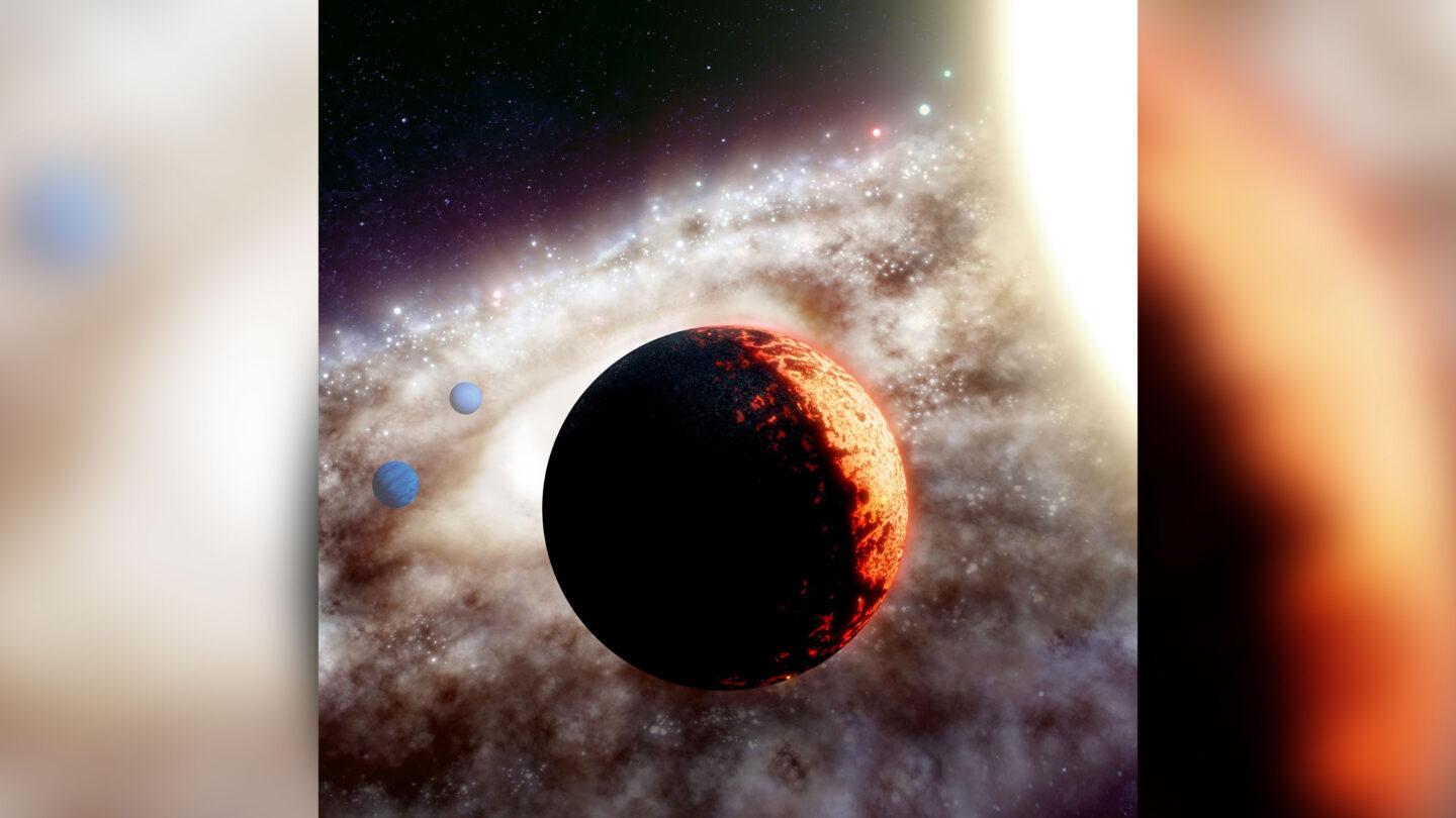 Artist's rendition of TOI-561, one of the oldest, most metal-poor planetary systems discovered yet in the Milky Way galaxy. (W. M. Keck Observatory/Adam Makarenko)