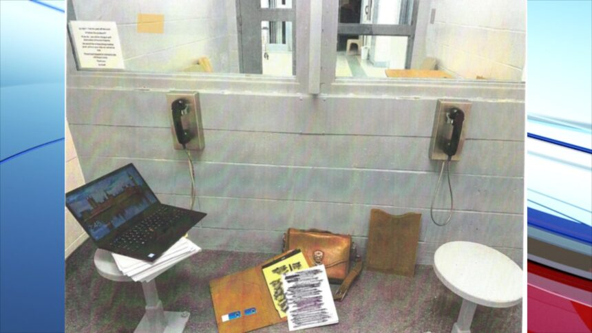 jail phone_In his filing, Vallow's attorney included pictures depicting the conditions his client faces in communicating with him by phone.