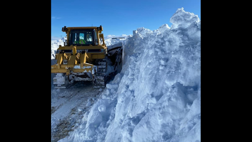 ITD crews build snow trenches on SH332