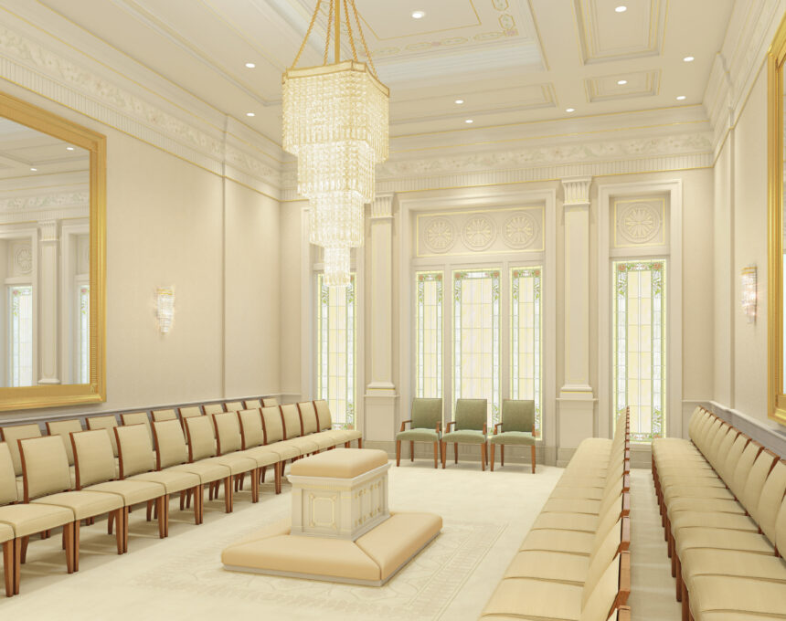 Rendering of a sealing room in the Pocatello Idaho Temple.