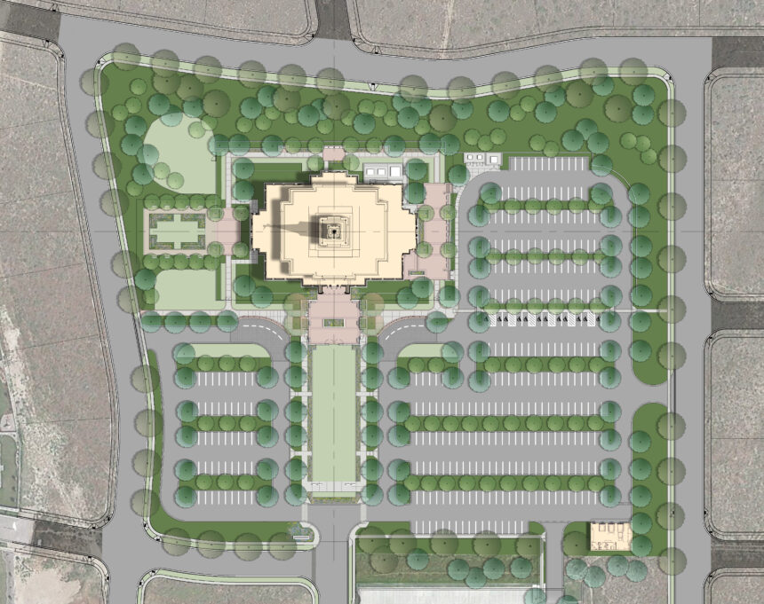 Rendering of the Pocatello Idaho Temple site plan.