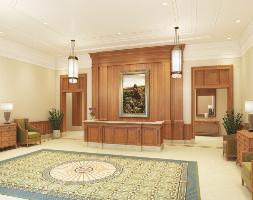 Rendering of the recommend desk in the Pocatello Idaho Temple.