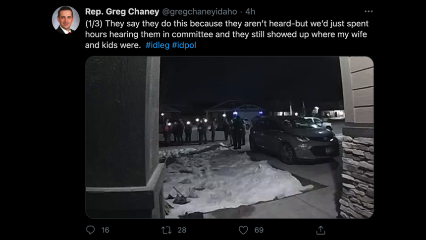 Rep. Greg Chaney, a Republican from Caldwell, posted about the demonstration at his home2