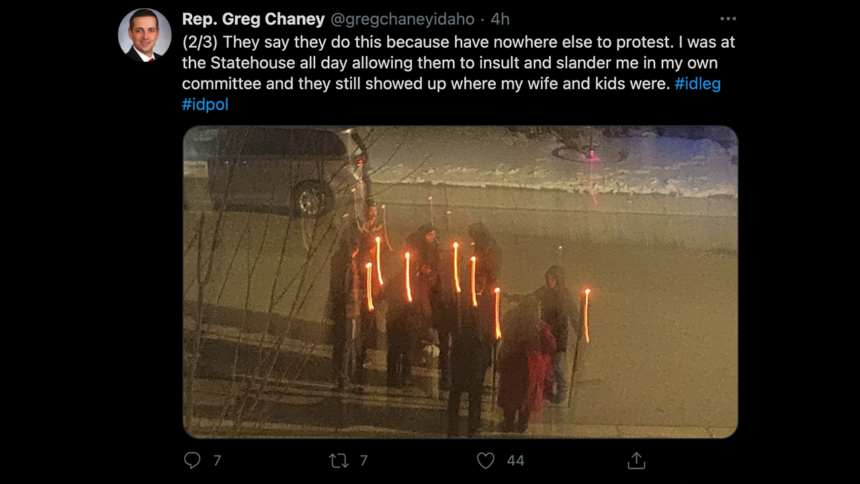 Rep. Greg Chaney, a Republican from Caldwell, posted about the demonstration at his home3
