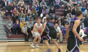 #12 Michael Belnap shoots three in Marsh Valley's 57-54 win over Snake River