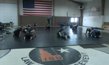 Students practicing self-defense tactics at ISU's Law Enforcement Program