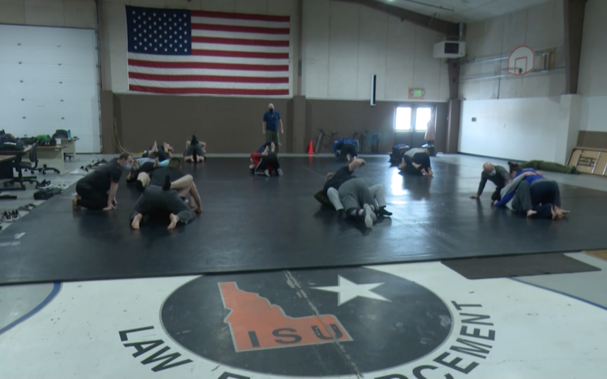 Students practicing self-defense tactics at ISU's Law Enforcement Program
