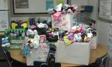 Socks donated at Tyhee Elementary